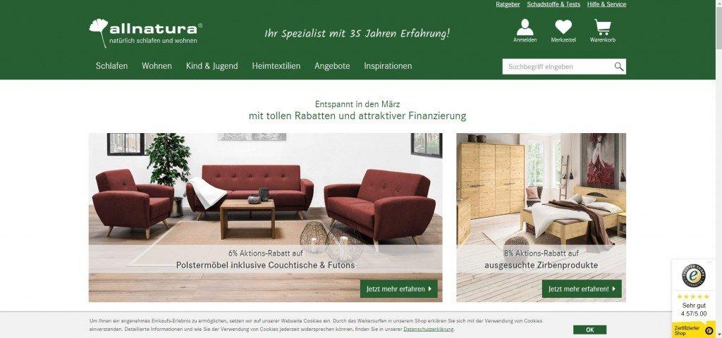 Der allnatura Online Shop hat besonders im Living Bereich ein breites Sortiment