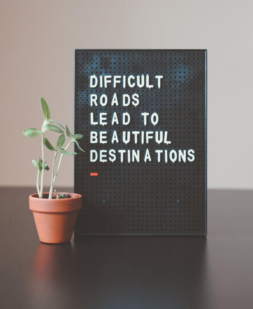 Statement für nachhaltige Businesses auf Schild mit kleiner Topfpflanze