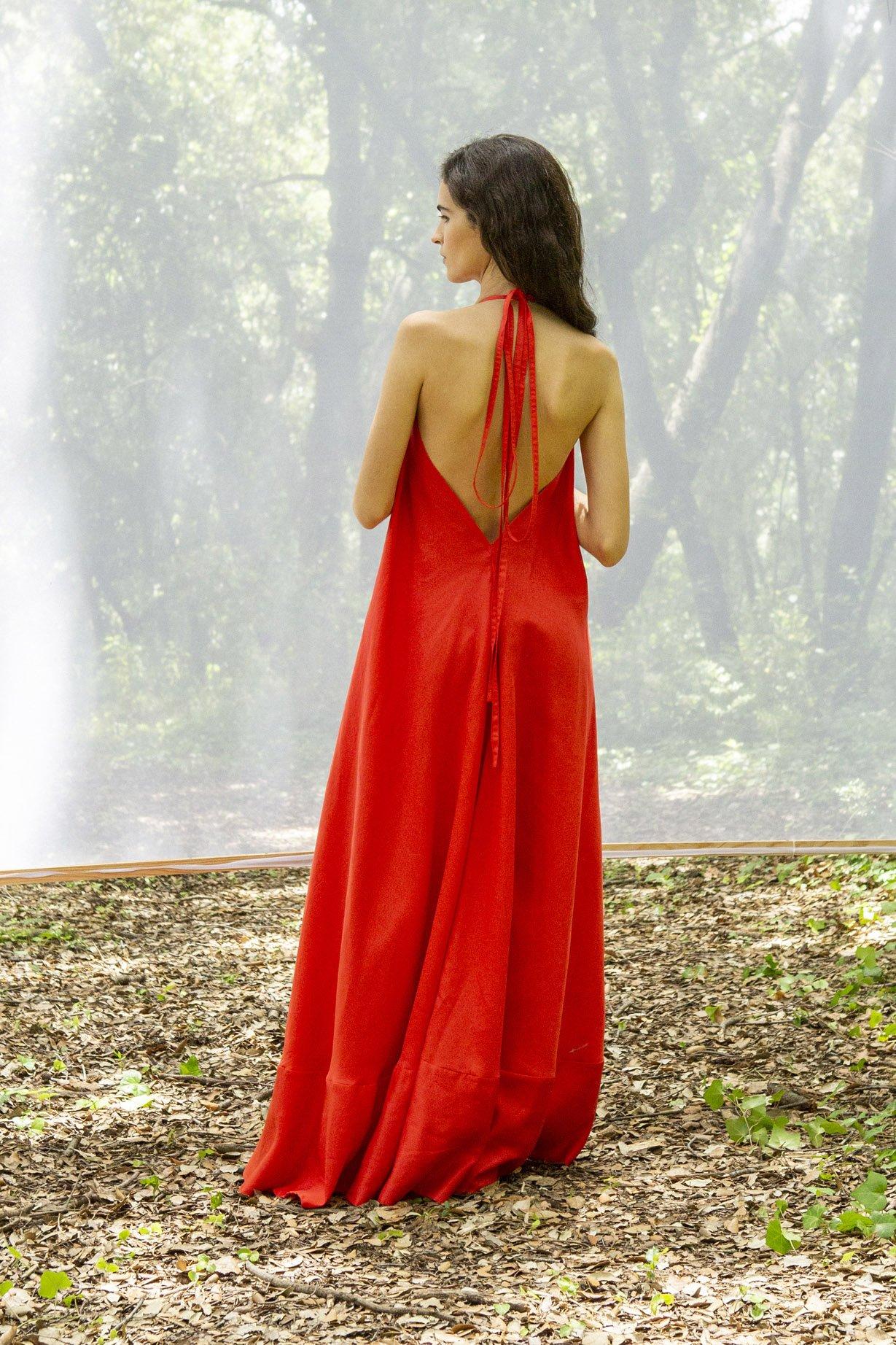 Kleid Daphne Lang Rot Onesize