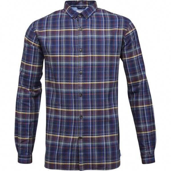 KnowledgeCotton Apparel SHIRT CHECKED BLAU LOV11530 1