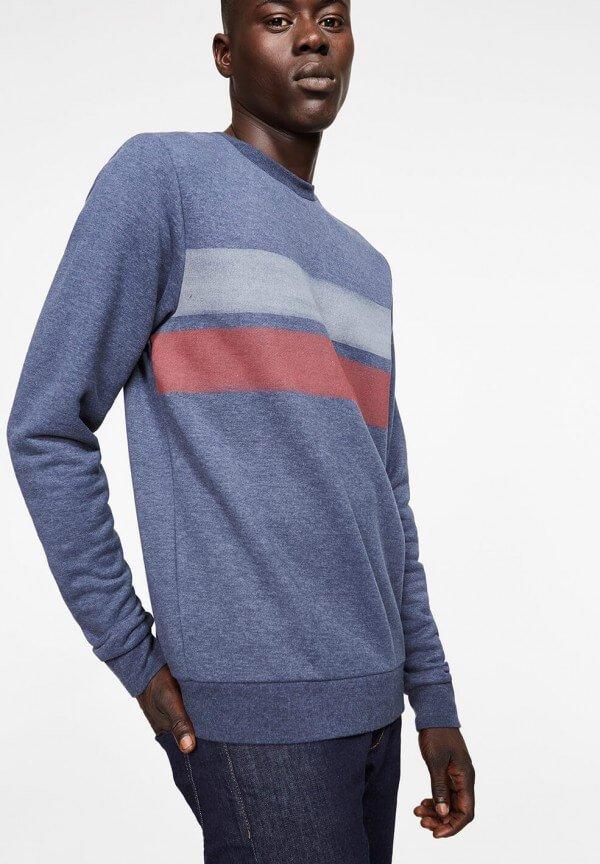 Sweatshirt Yorick Two Stripes Navy Melange