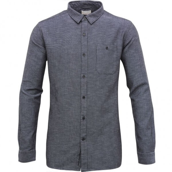 KnowledgeCotton Apparel SHIRT SLUB YARN NAVY LOV11355 1
