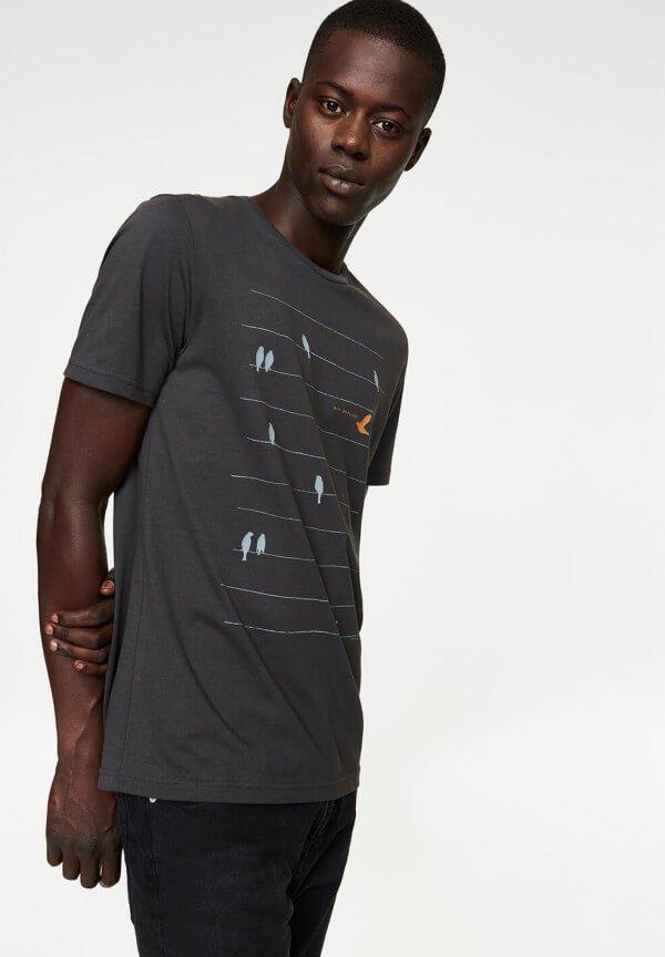 T-Shirt James Birds Online Acid Black