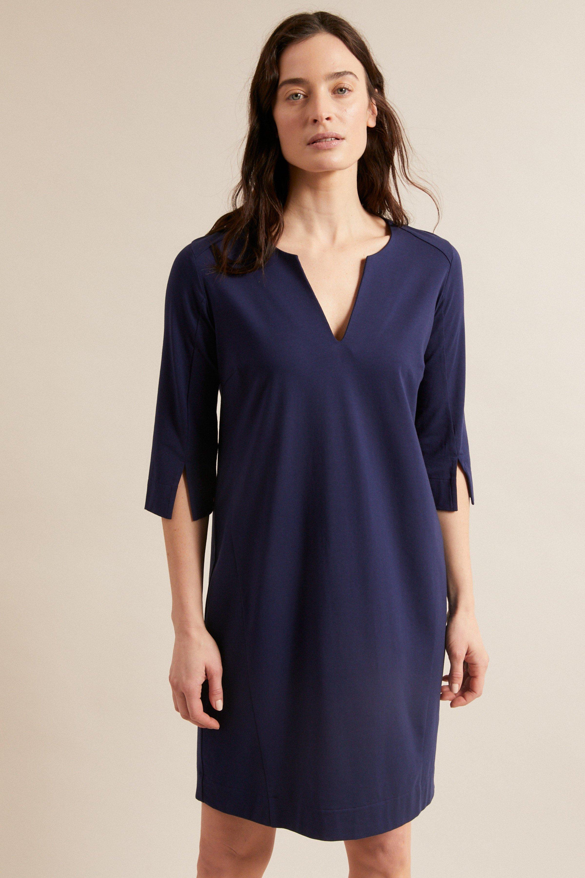 Kleid mit Ärmelschlitz Blau