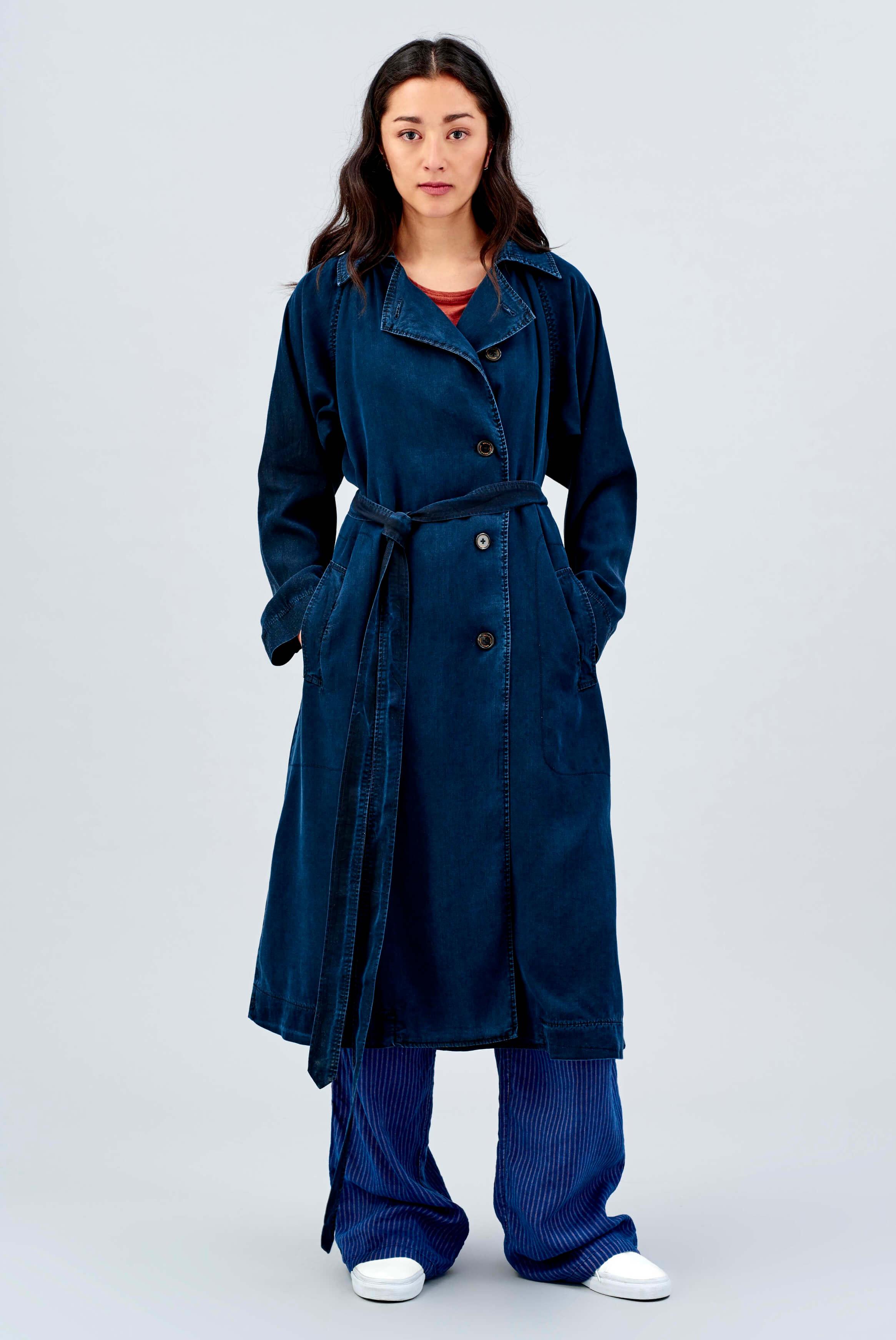 Details für Shop für authentische attraktive Farbe Trenchcoat Gladys Blau Schwarz