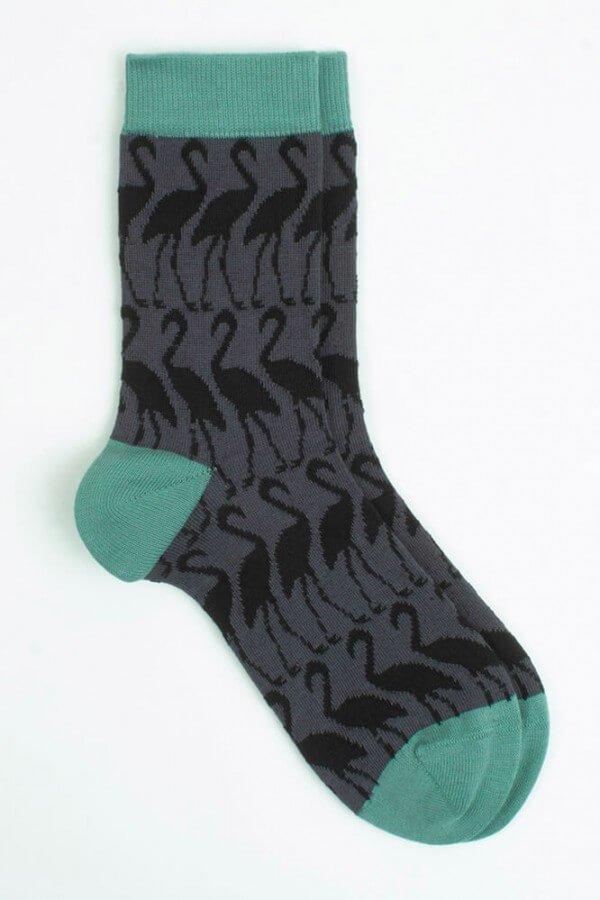 VNS Organic Socks SOCKEN FLAMINGO GRAU BLAU LOV11856 1