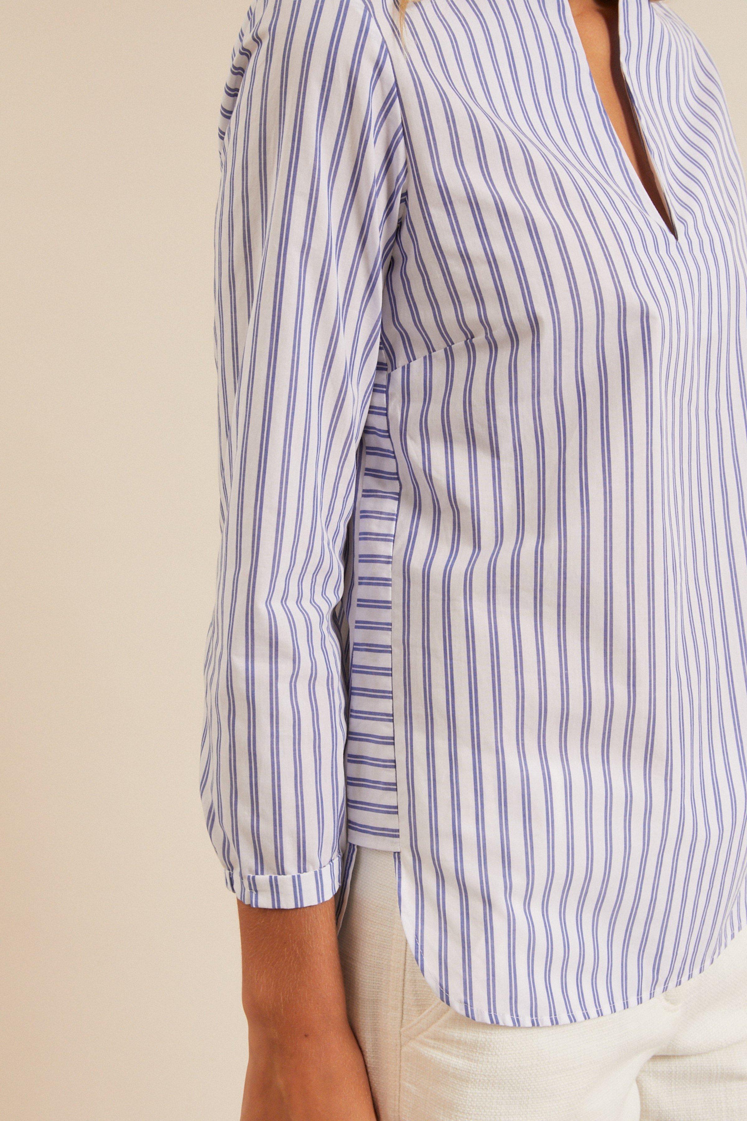 Bluse mit Streifen Weiß Blau