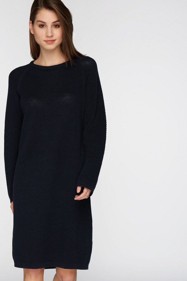 recolution KNITTED DRESS POINTS NAVY LOV12613 1