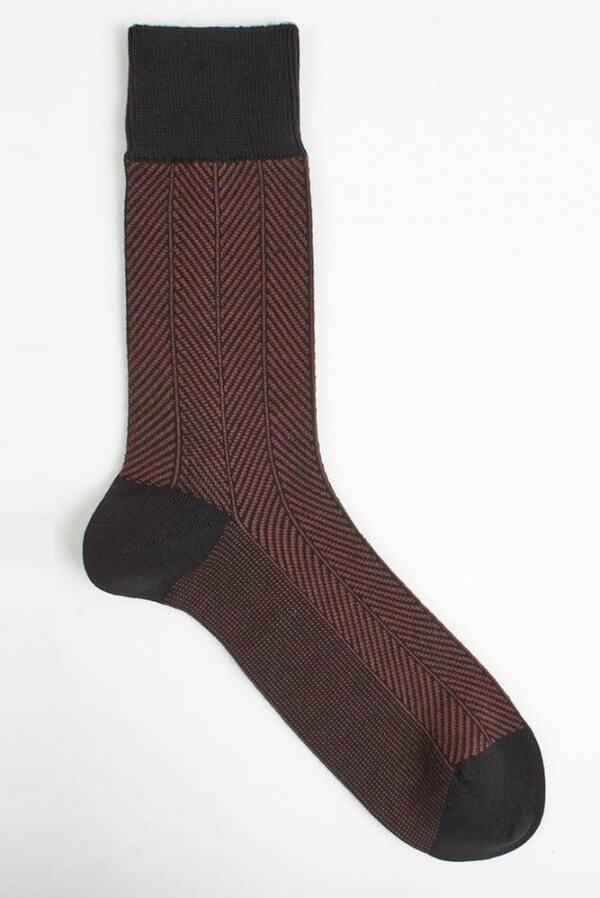 VNS Organic Socks SOCKEN HERRINGBONE ROSTROT LOV11732 1