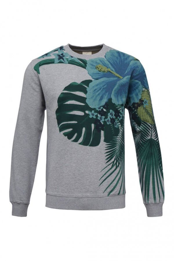 KnowledgeCotton Apparel SWEATER GIANT FLOWER GRAU LOV11869 1