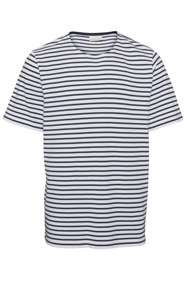 KnowledgeCotton Apparel T-SHIRT STRIPPED BLAU LOV13675 1