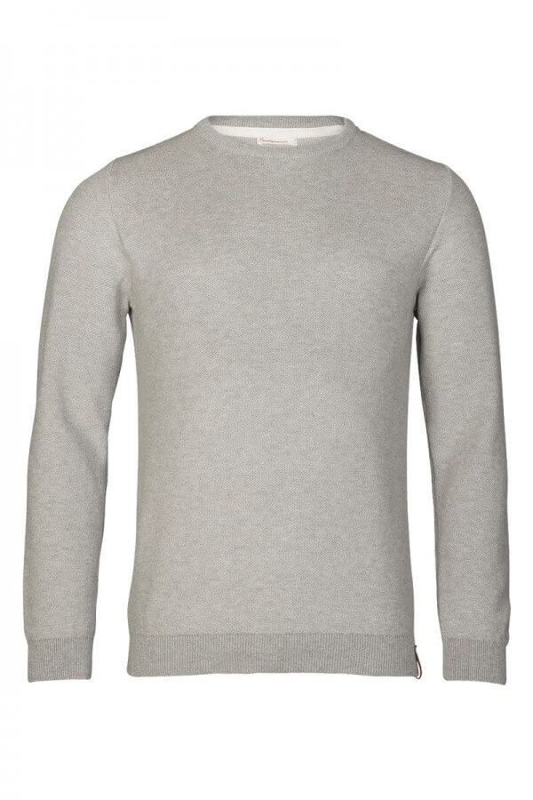 KnowledgeCotton Apparel PULLOVER TWO TONED PIQUE KNIT GREY MELANGE LOV12394 15
