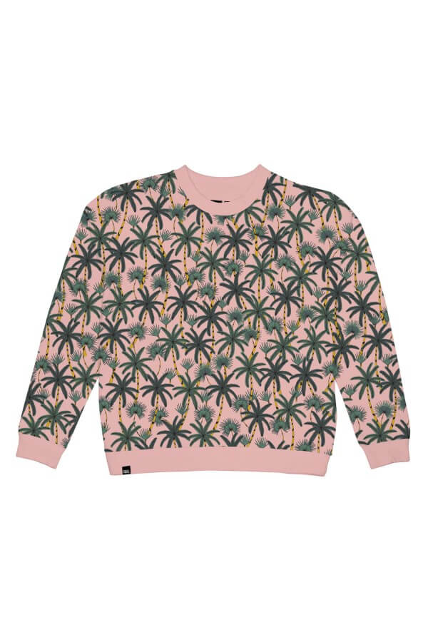 dedicated SWEATSHIRT YSTAD BEACH PALMS MELLOW PINK LOV12095 1