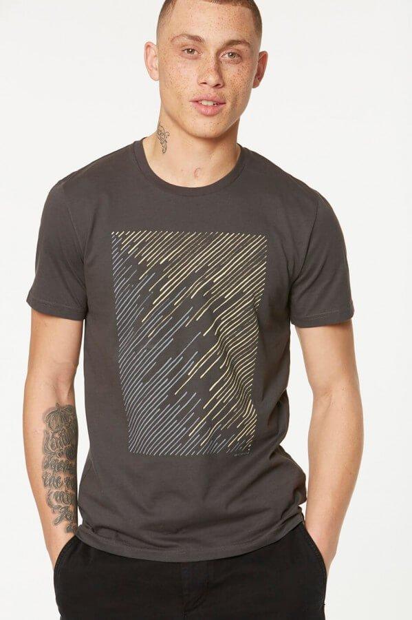 T-Shirt James Geo Lines Grau