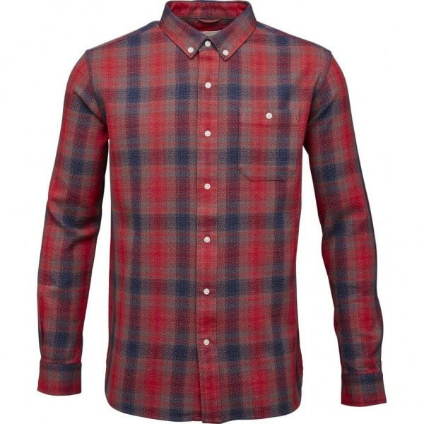 KnowledgeCotton Apparel CHECKED SHIRT YARNDYED POMPEAIN RED LOV11356 1