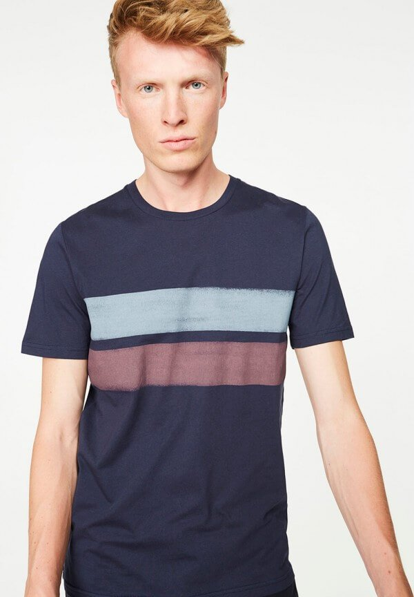 T-SHIRT JAMES TWO STRIPES NAVY