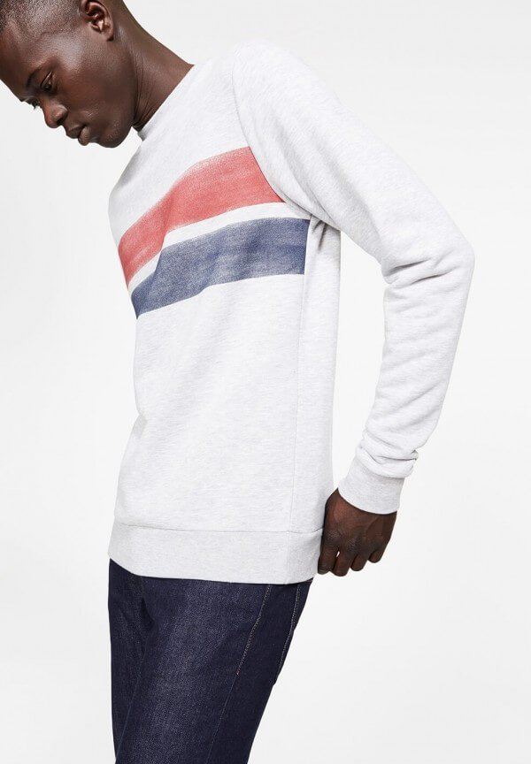 Sweatshirt Yorick Two Stripes Grey Melange