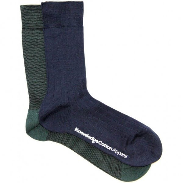 KnowledgeCotton Apparel SOCKS NARROW STRIPED 2PACK BLAU GRÜN LOV11556 1