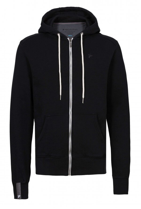 SWEATJACKE ZIPPER BASIC SLUB MEN BLACK