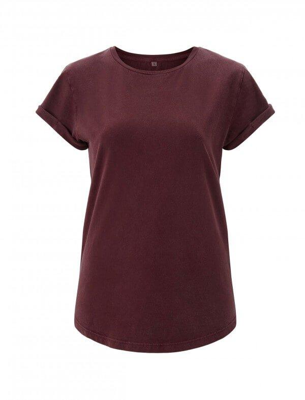 Continental Clothing T-SHIRT WOMEN'S ROLLED SLEEVE ORGANIC STONE BURGUNDY LOV11482 1
