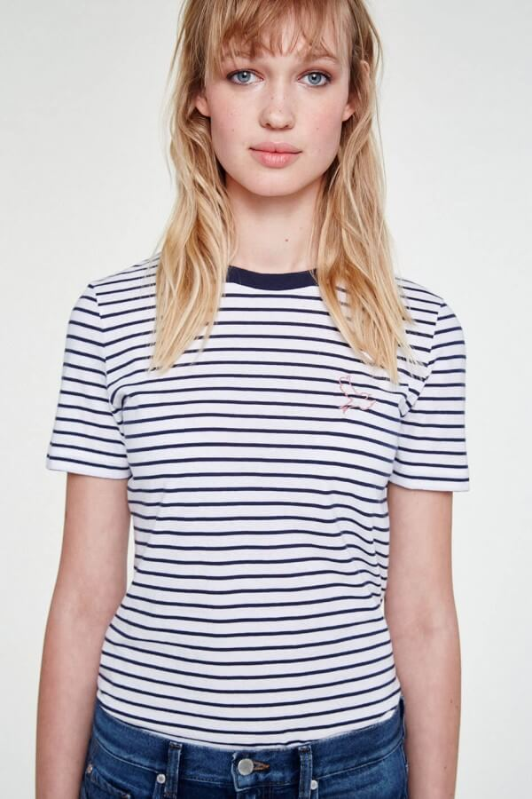 ARMEDANGELS T-SHIRT LIDA BIRDIE ON STRIPES WHITE DARK NAVY LOV12418 1