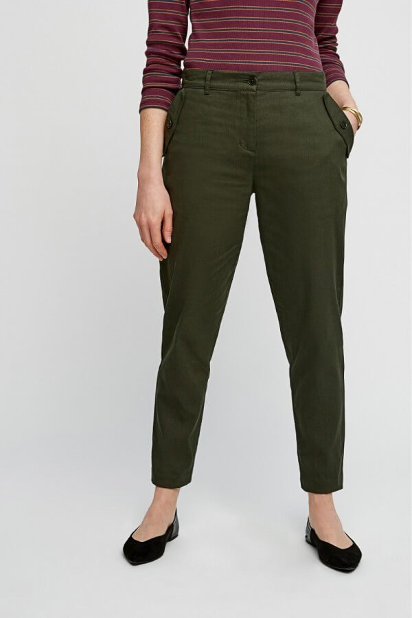 People Tree TROUSERS MARIETTA SLIM KHAKI LOV12405 1
