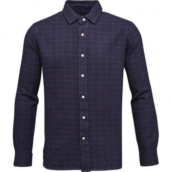 KnowledgeCotton Apparel SHIRT LOOSE TWILL CHECKED BLAU LOV11532 1