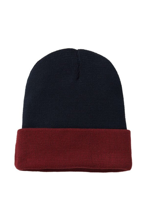 recolution KNIT BEANIE BICOLOR NAVY BURGUNDY LOV12633 4