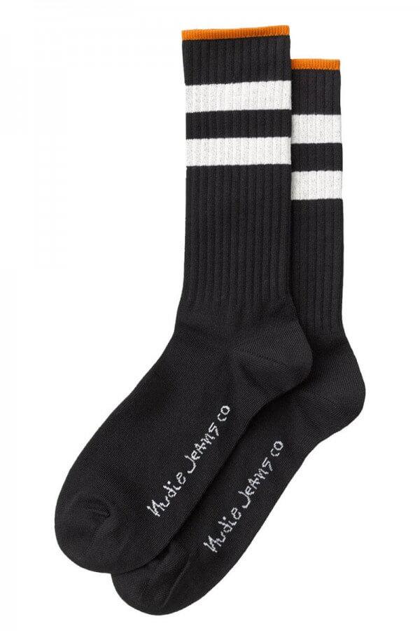 Nudie Jeans SOCKEN AMUNDSSON SCHWARZ WEISS LOV12950 1
