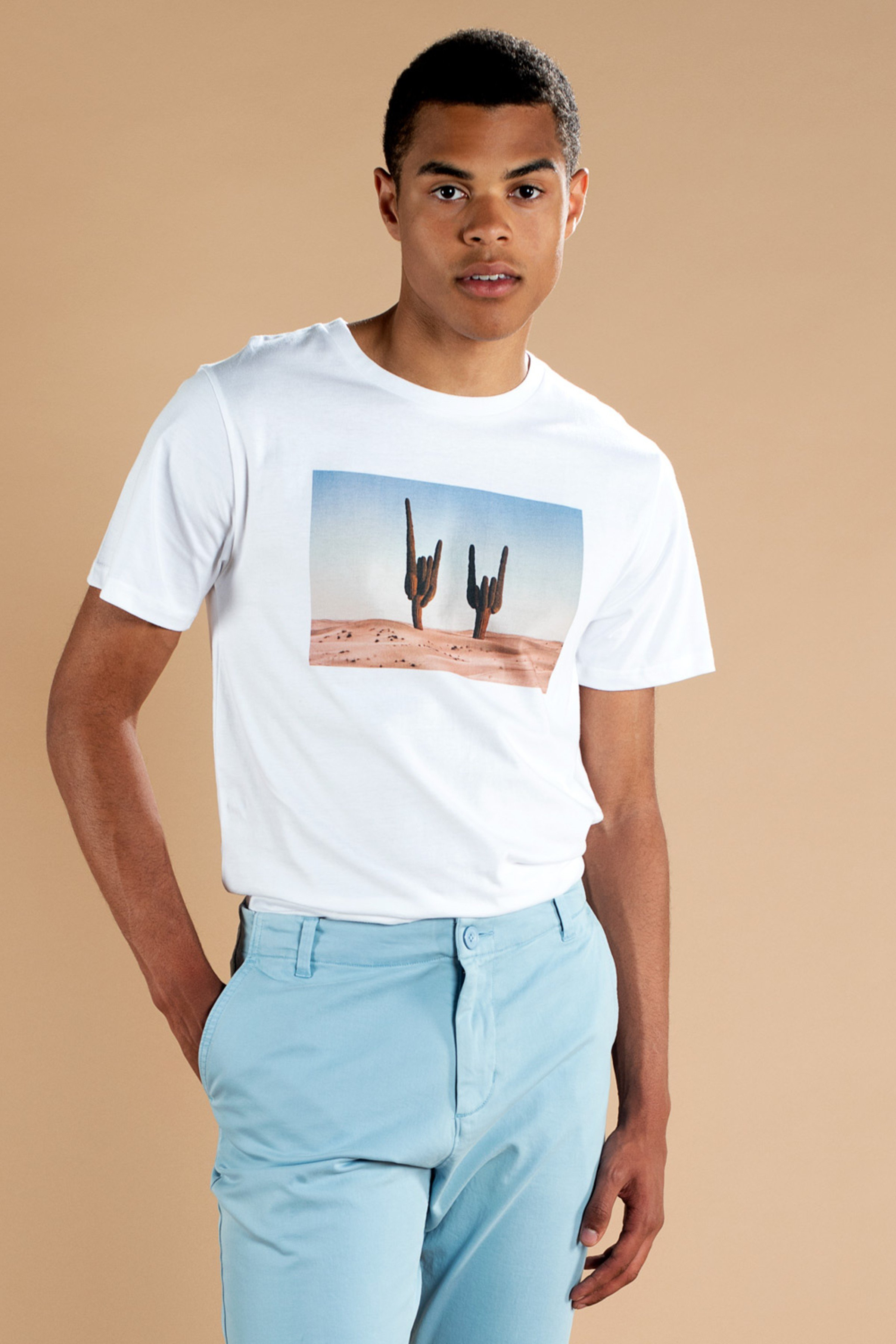 T-Shirt Stockholm Cactus Sign Weiß