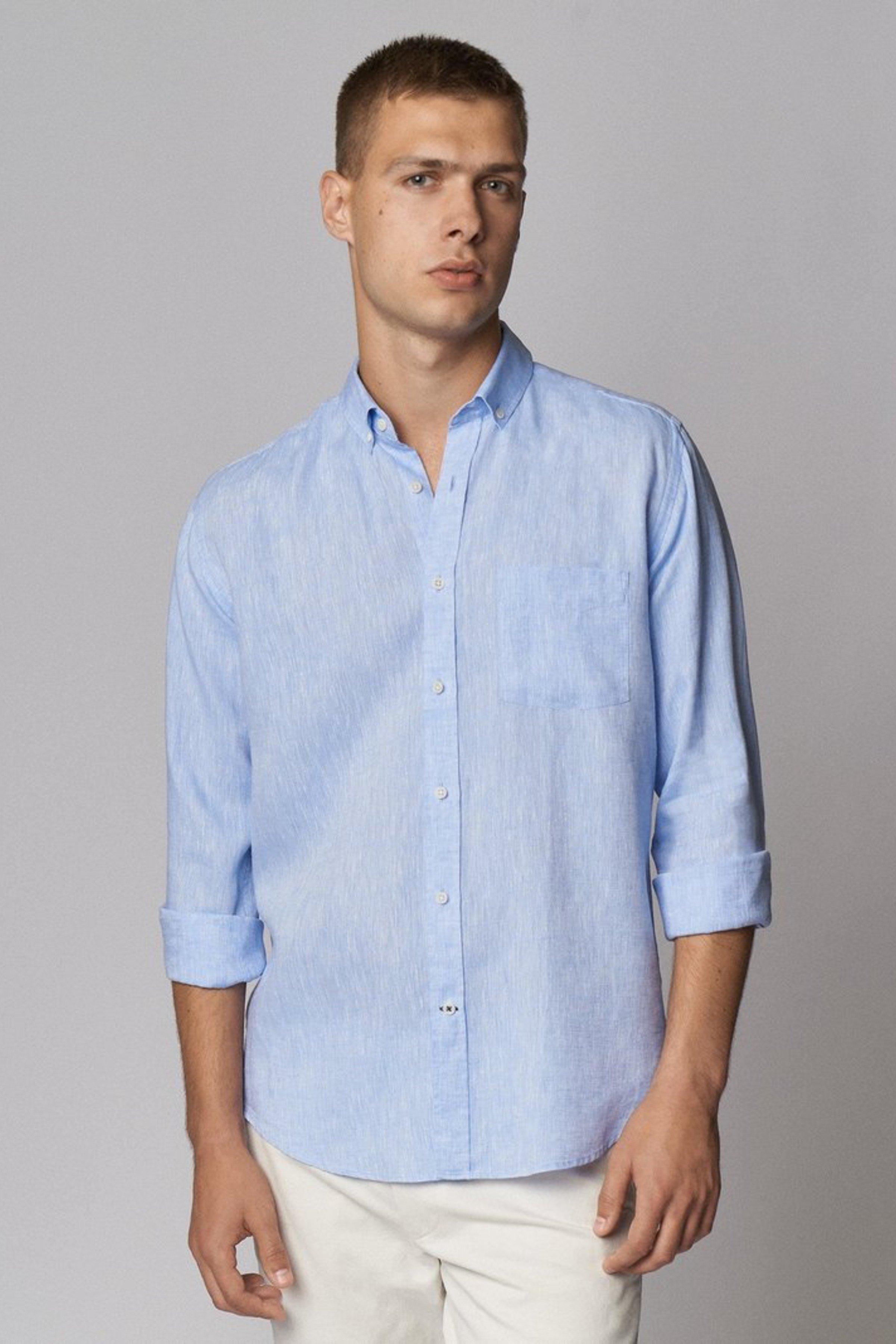Hemd Leinen Blau