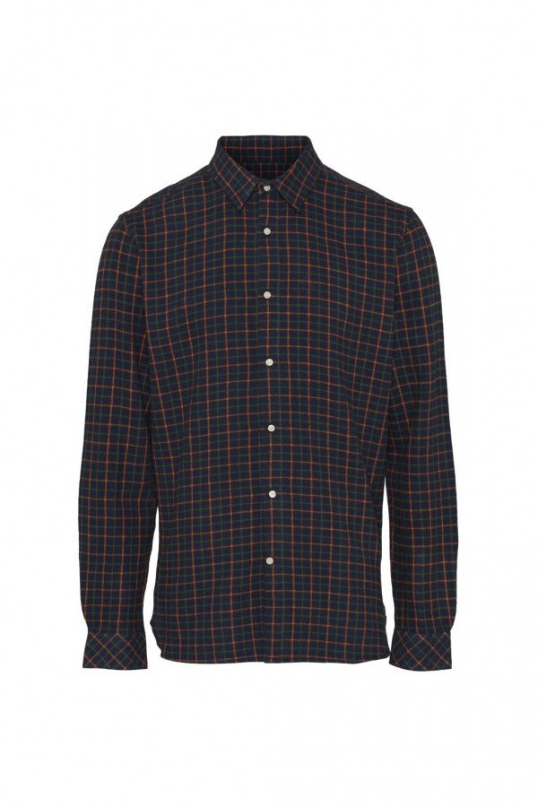 KnowledgeCotton Apparel HEMD CHECKED FLANNEL BLAU LOV13887 1