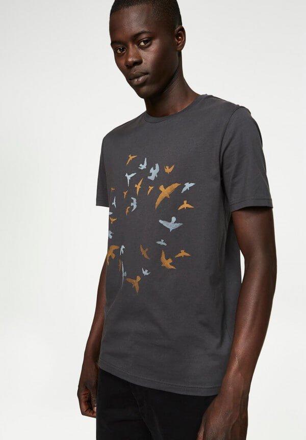 T-SHIRT JAMES CIRCLE BIRDS ACID BLACK