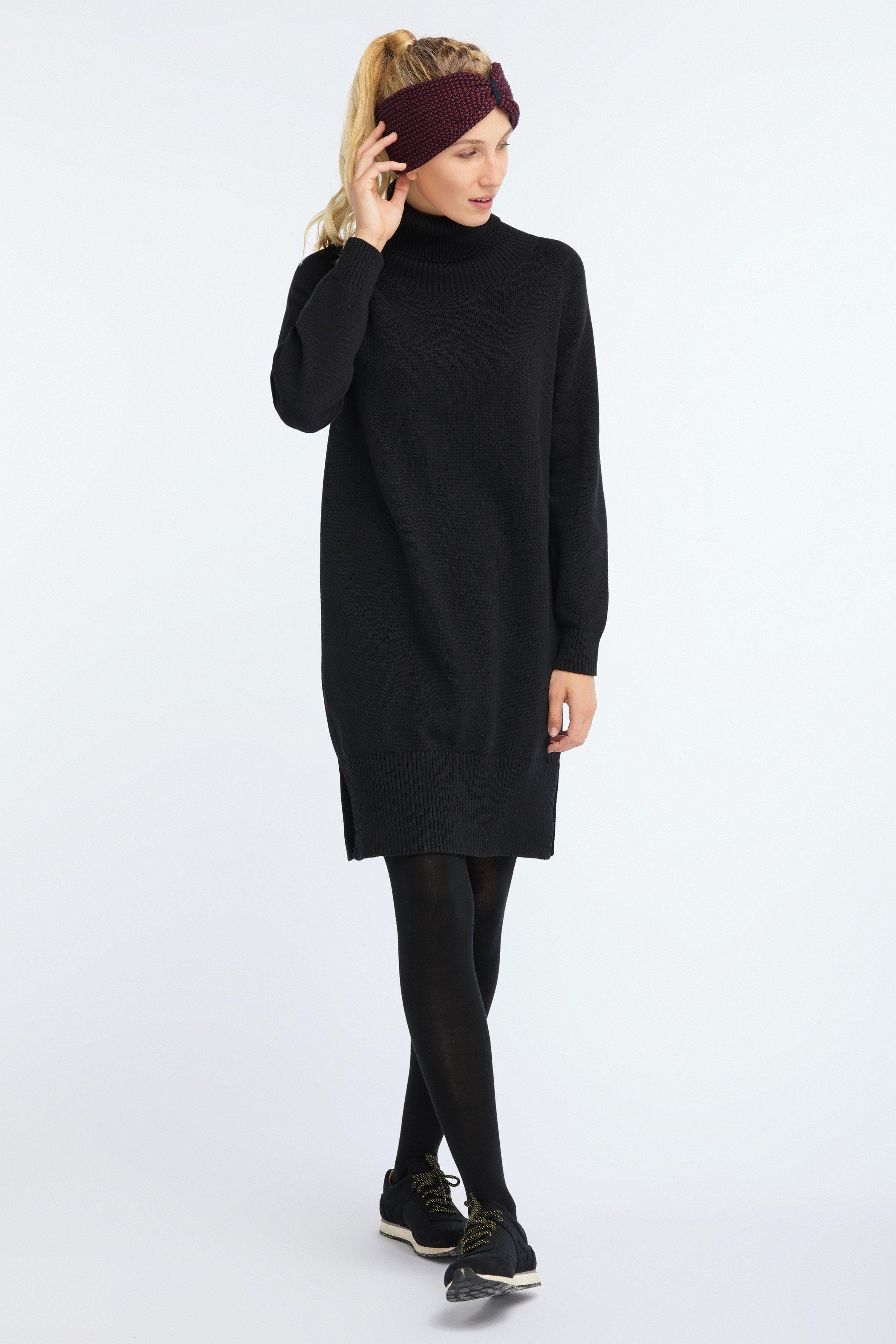 Kleid Raglan Turtleneck Knit Schwarz