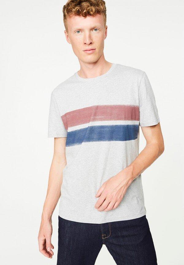 T-Shirt James Two Stripes Grey Melange