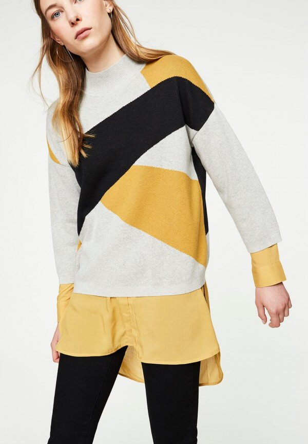 PULLOVER AGNES ABSTRACT BLACK CURRY GREY