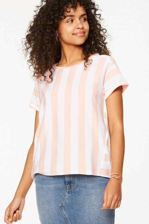 ARMEDANGELS T-SHIRT RONJA BLOCK STRIPES ROSA WEISS LOV12241 15