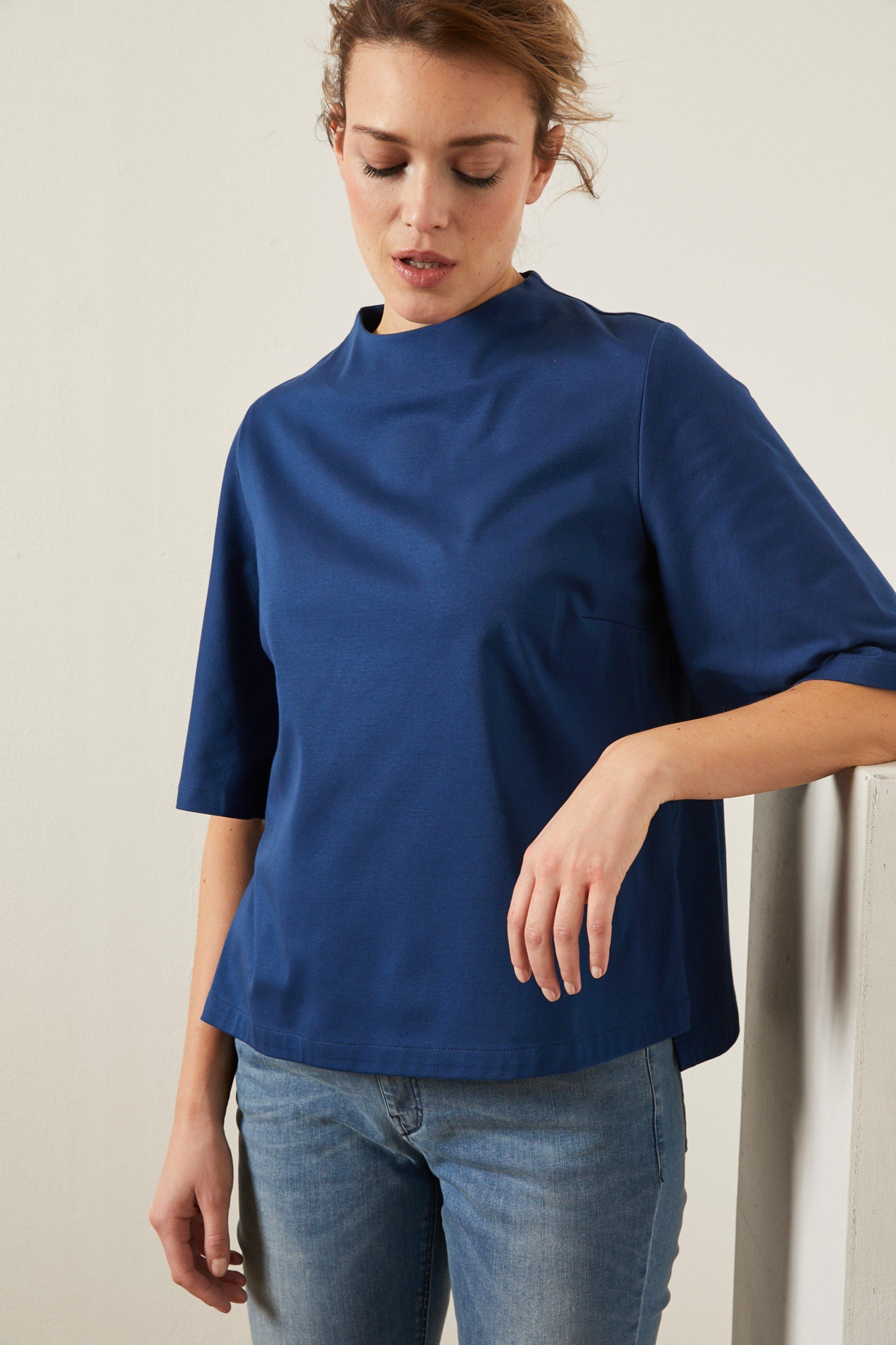 T-Shirt Mit Kragen Blau from LOVECO