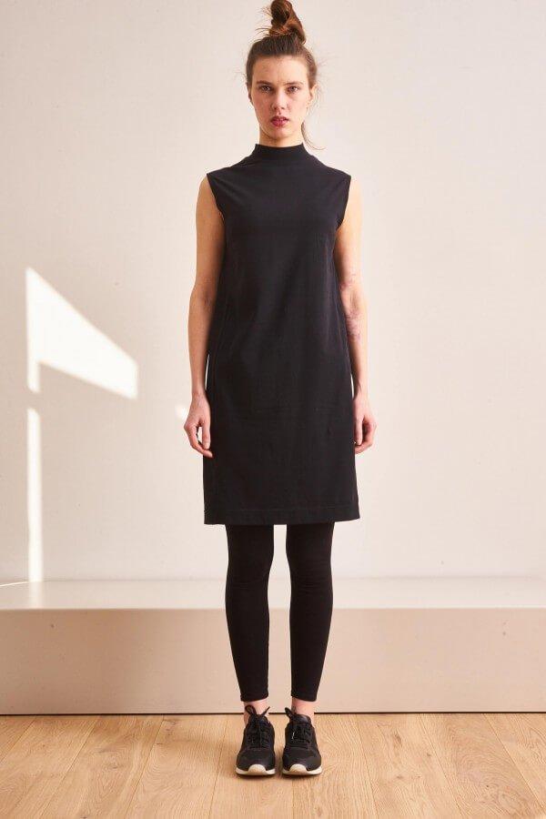 CUS LONG NECK DRESS BLACK LOV11341 1