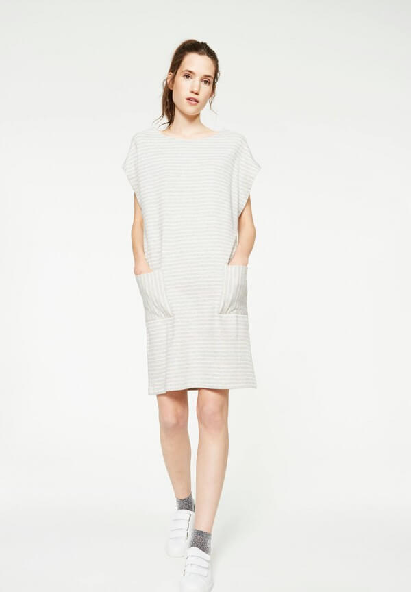 Sweat Dress Mareike Stripes Grey Melange Nude
