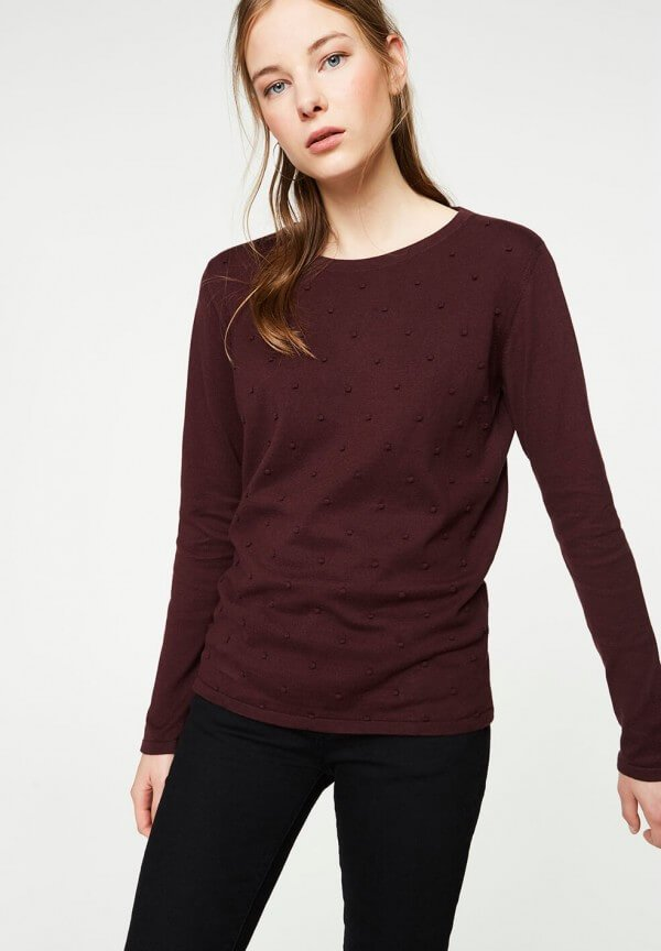 PULLOVER EKIN DOTS DARK BORDEAUX