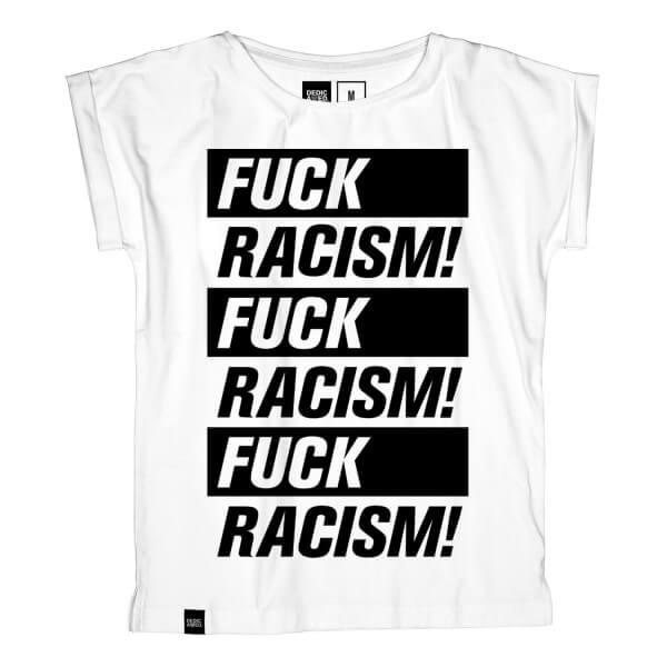 dedicated T-SHIRT VISBY FUCK RACISM WHITE LOV11493 1